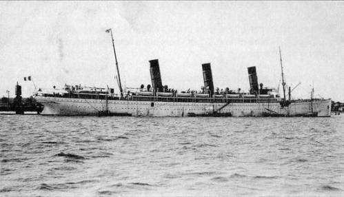 Το S/S Burdigala, πρώην S/S Kaiser Friedrich, το διάστημα που ταξίδευε υπο γαλλική σημαία